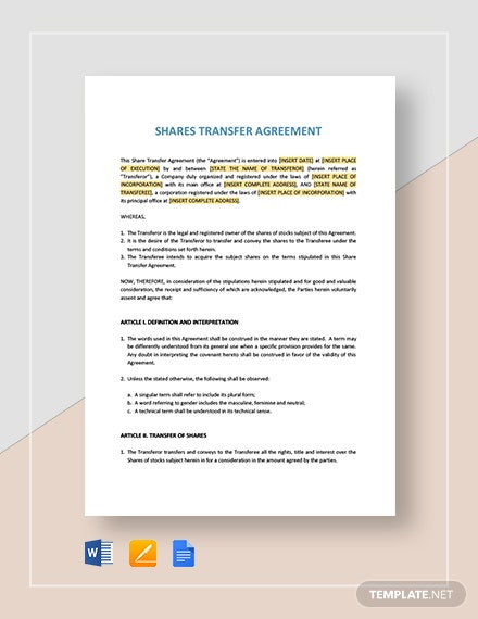 Shares Transfer Agreement Short Template