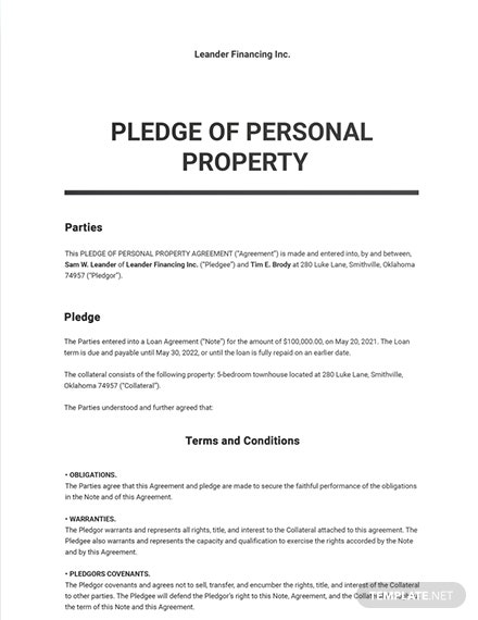 Pledge of Personal Property Template