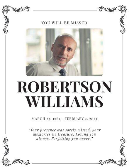 Free Obituary Program Template