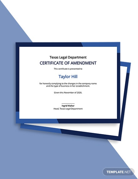 Certificate of Amendment Template