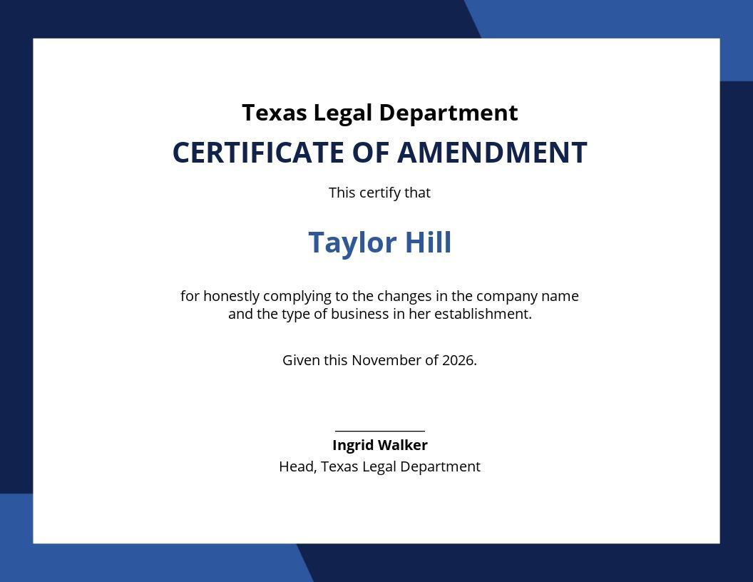 Certificate of Amendment Template