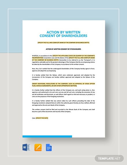 Action by Written Consent of Shareholders