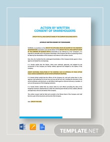 Action by Written Consent of Shareholders Template