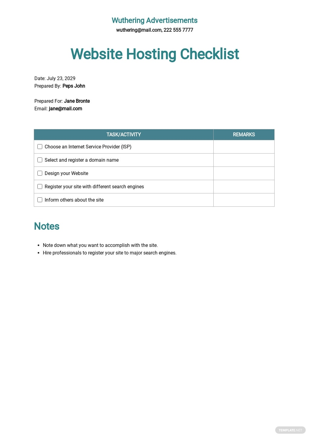Checklist Website Hosting Agreement Template