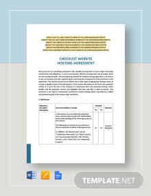 Checklist Website Hosting Agreement Template