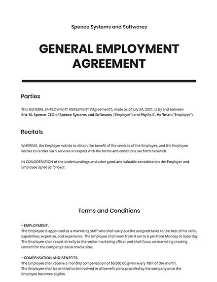 General Employment Agreement Template