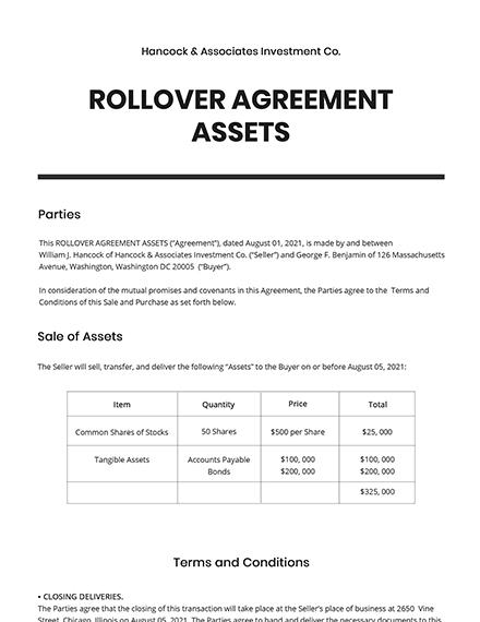 Rollover Agreement Assets Template