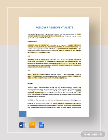 Rollover Agreement Assets Template