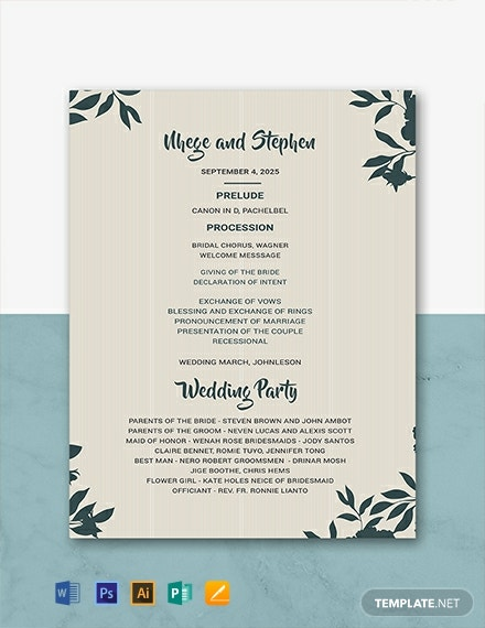Free Wedding Program Template Word Psd Indesign