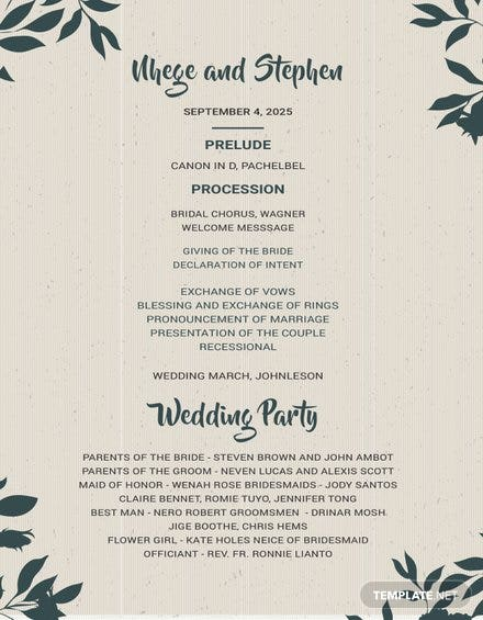 Free Wedding Program Template
