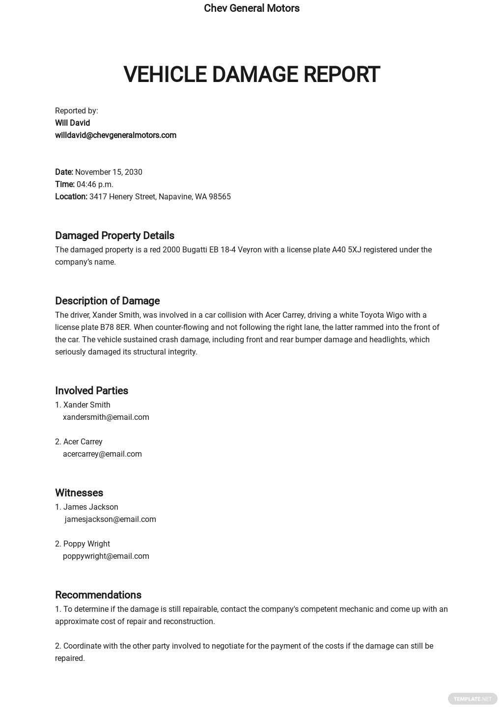 Damage Report for Insurance Template