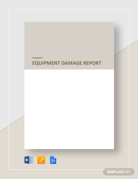 Equipment Damage Report Template