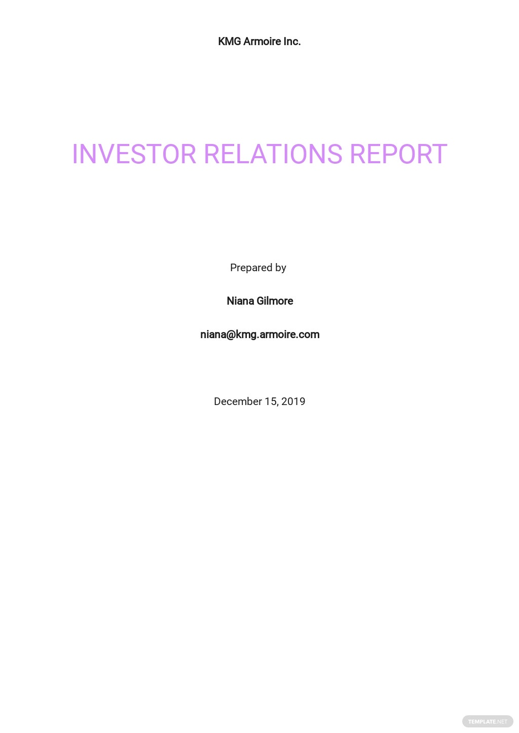 Investor Relations Report Template