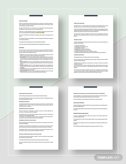 HACCP Plan Template - Word | Google Docs | Apple Pages ...