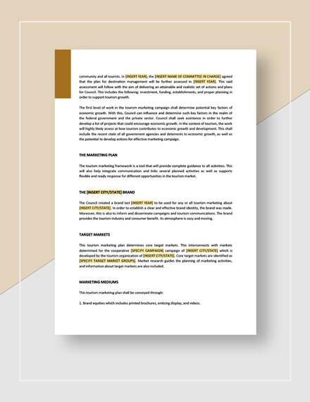 Sample Tourism marketing plan