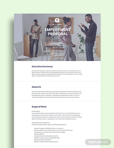 Employment Proposal Template