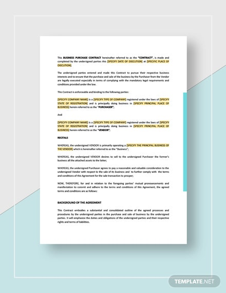 Business Purchase Contract Template