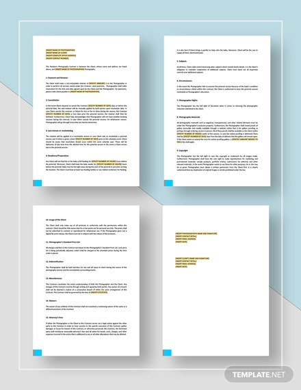 Newborn Baby Photography Contract Template