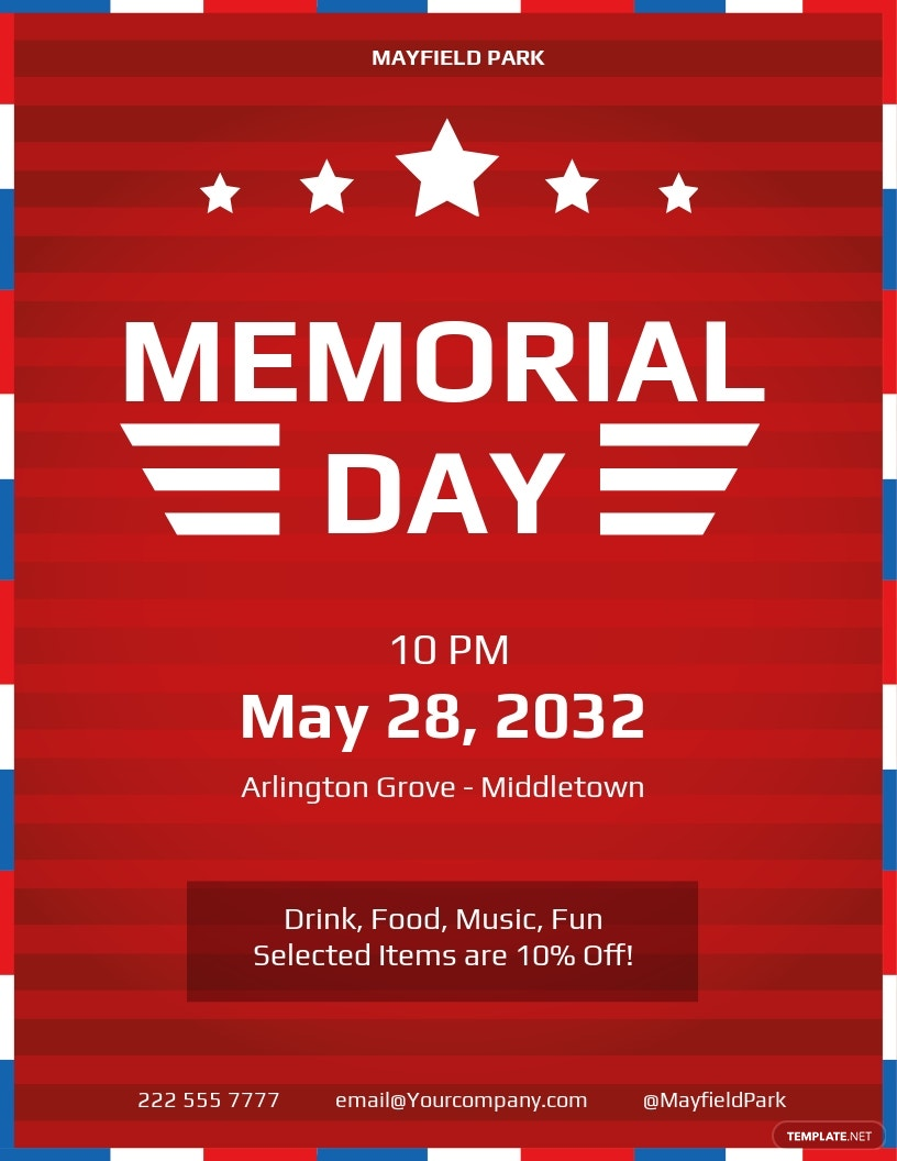 Free Simple Memorial Day Flyer Template.jpe