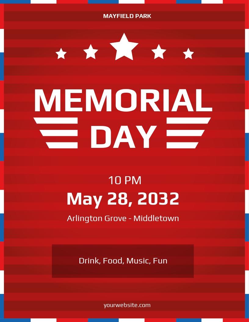 Simple Memorial Day Flyer Template.jpe