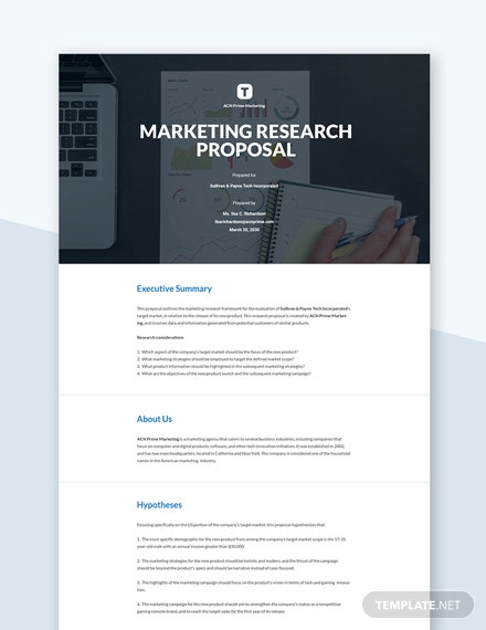 Editable Marketing Research Proposal Template