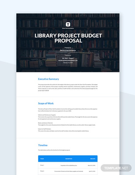 Editable Grant Budget Proposal Template