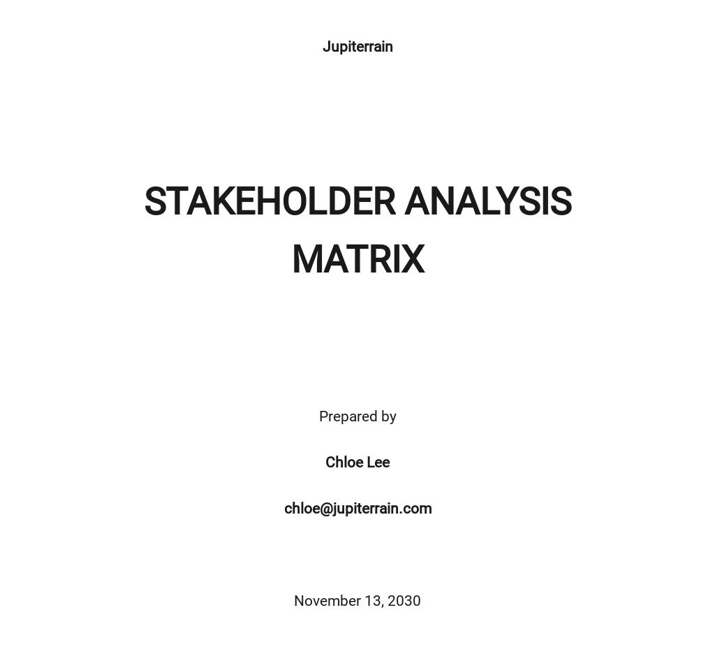 Stakeholder Analysis Matrix Template