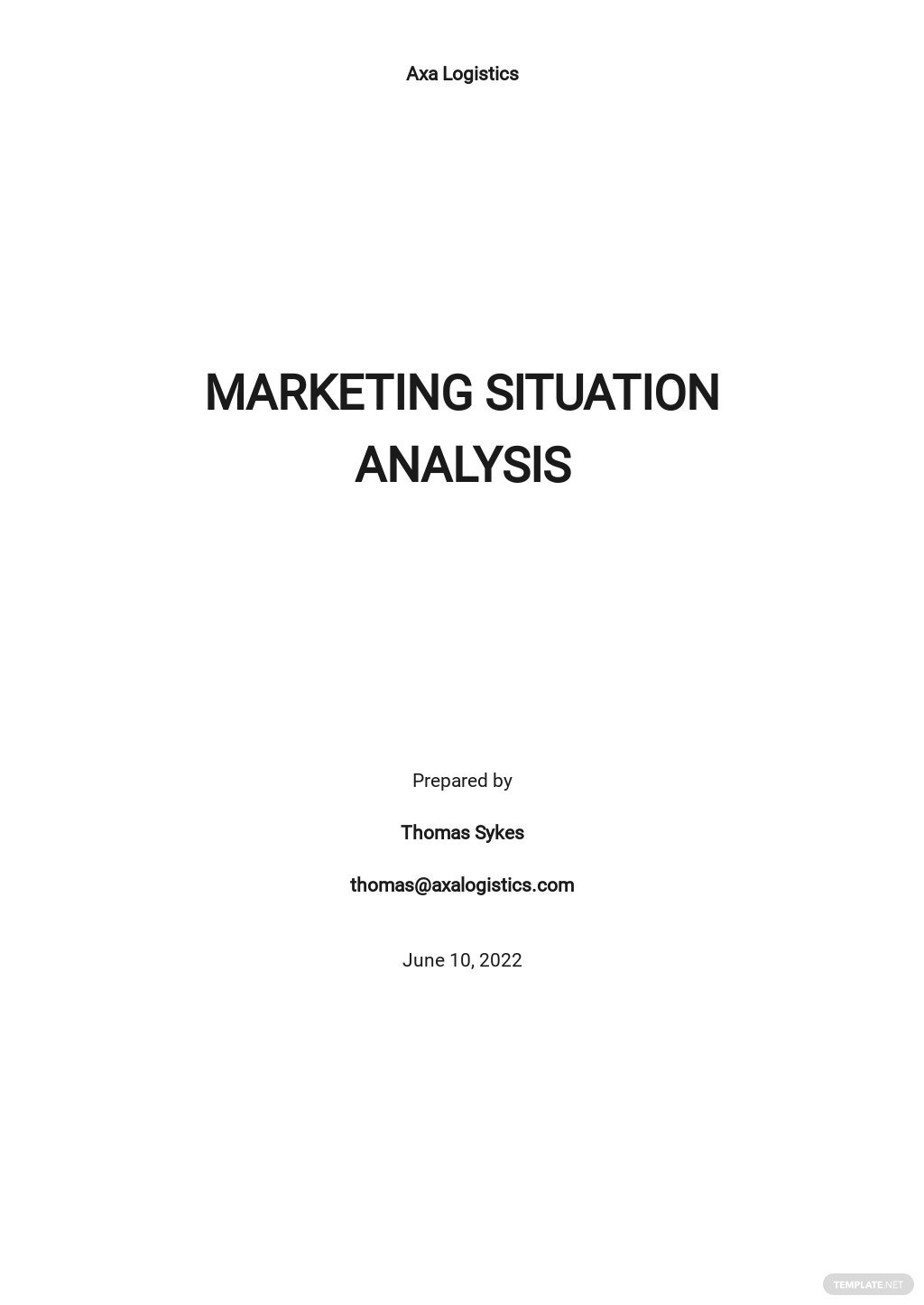 Sample Marketing Situation Analysis Template