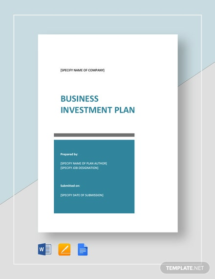 Business Investment Plan Template