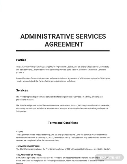 Administrative Services Agreement Sample