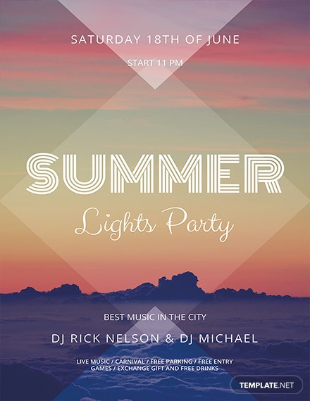 summer lights flyer template 1x