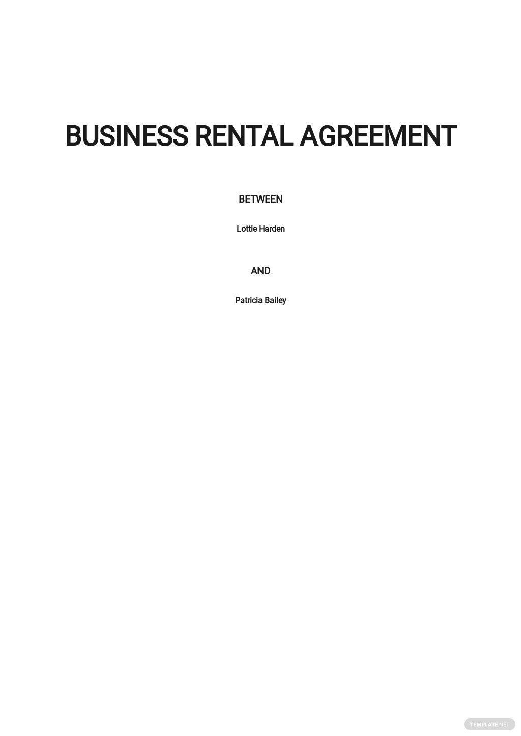 Business Rental Agreement Template