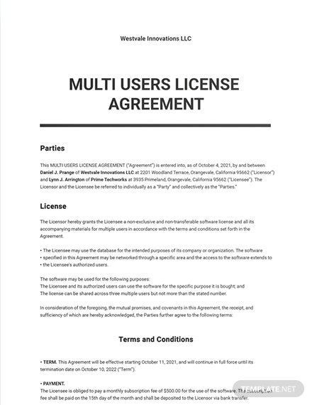 Multi Users License Agreement Template