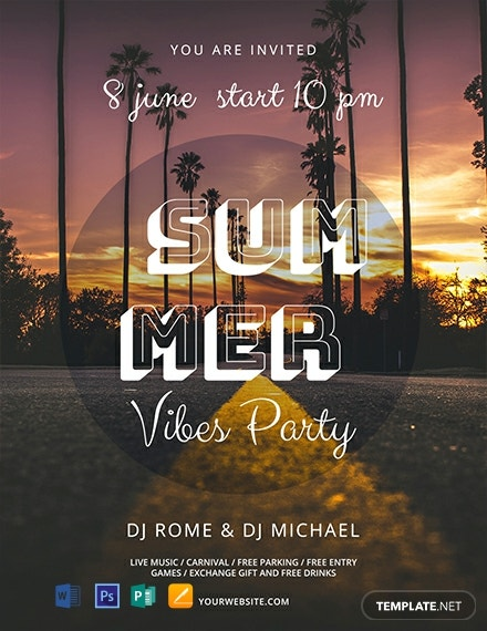 Free Summer Vibes Flyer Template