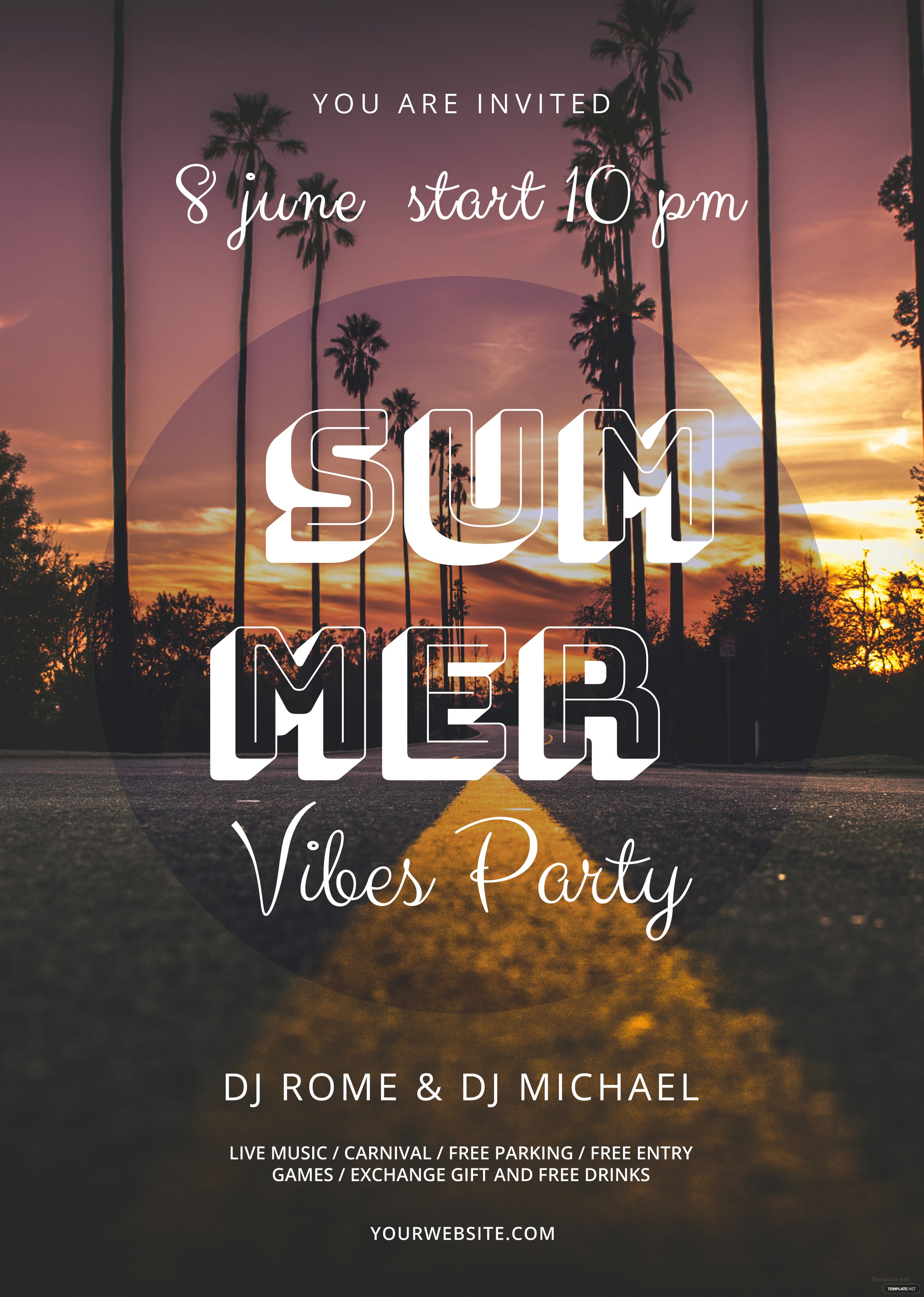 Amazing Summer Vibes Flyer Template. Free Download