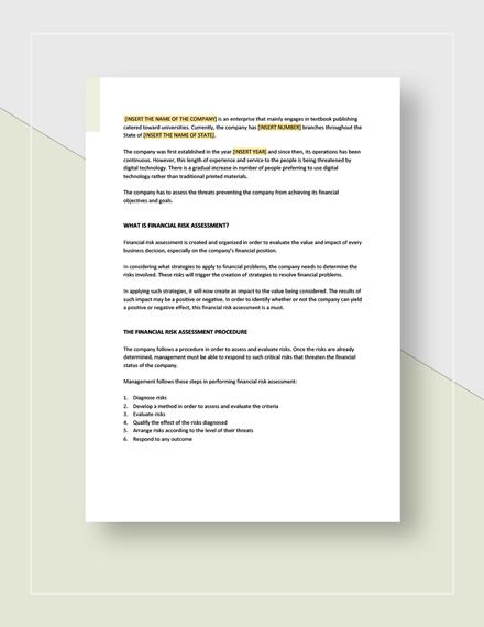 Financial Risk Assessment Template