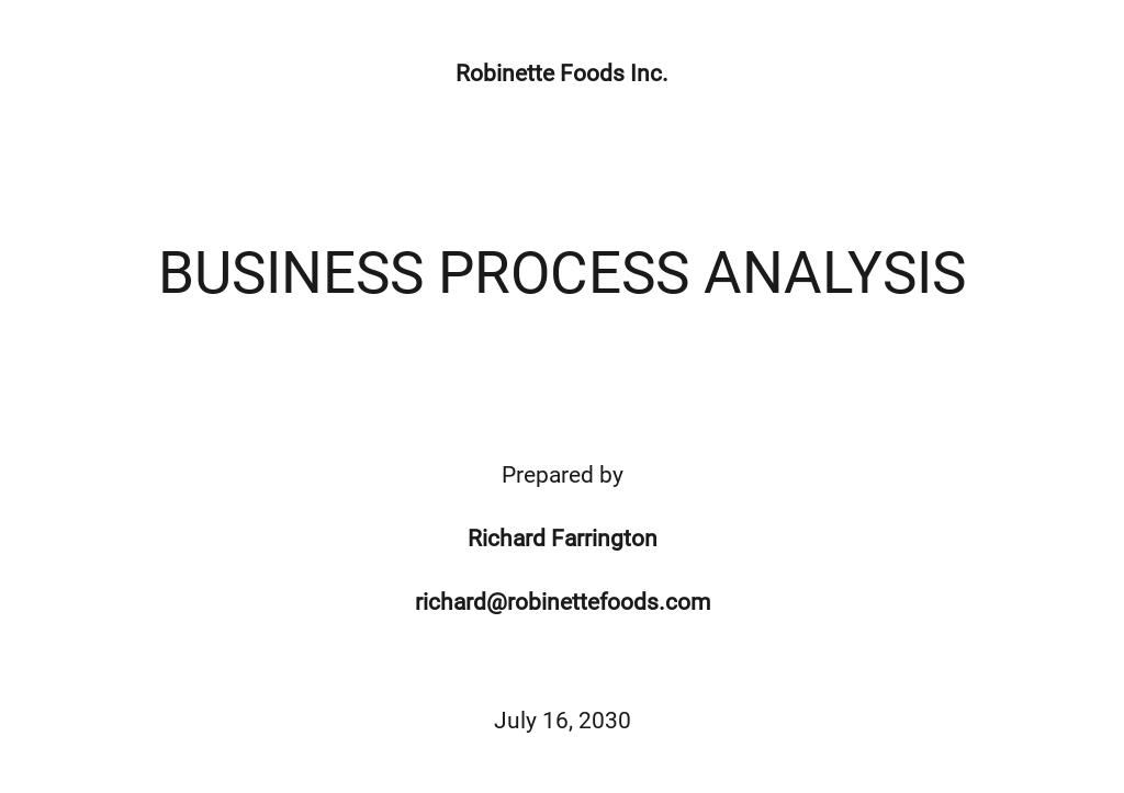 Business Process Analysis Template