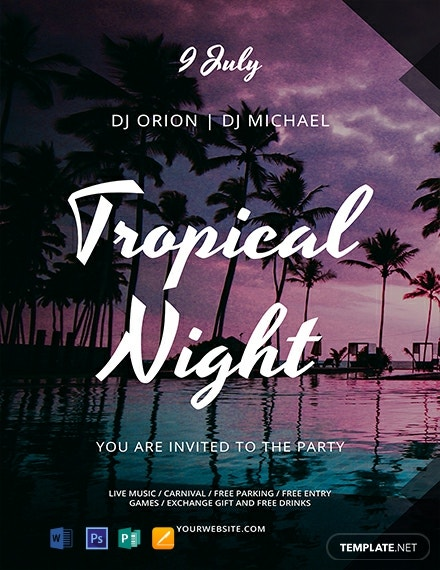 Free Tropical Summer Night Flyer Template