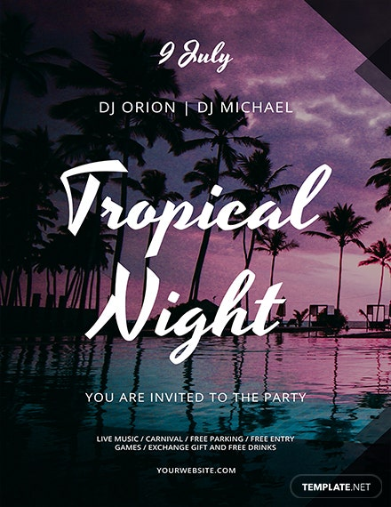 tropical summer night flyer template 1x