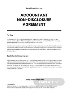 Accountant Non-Disclosure Agreement Template