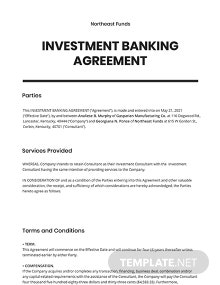 Investment Banking Agreement Template