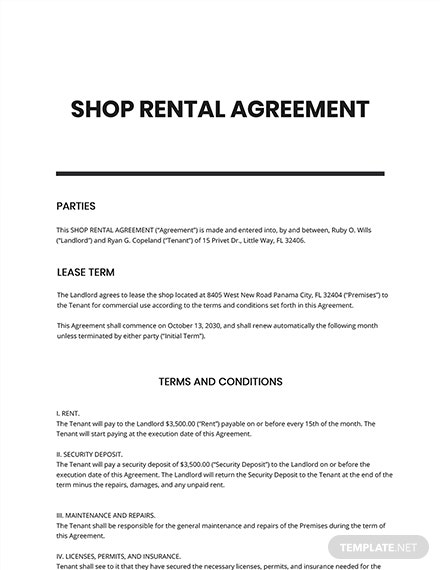 Shop Rental Agreement Template