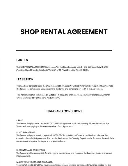 Shop Rental Agreement Template