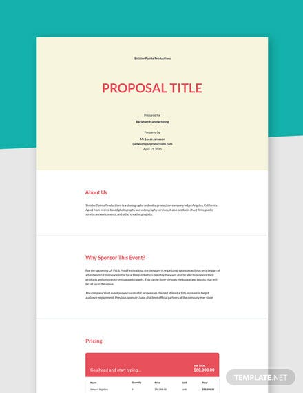 Editable Corporate Sponsorship Proposal Template