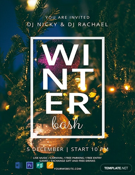 free winter bash flyer template  download 1577  flyers in