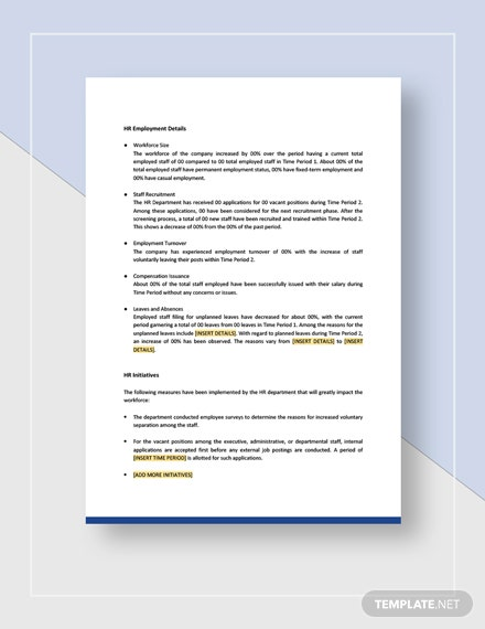 Sample HR Executive Report