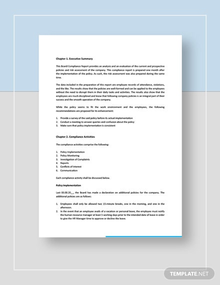 Board Compliance Report Download