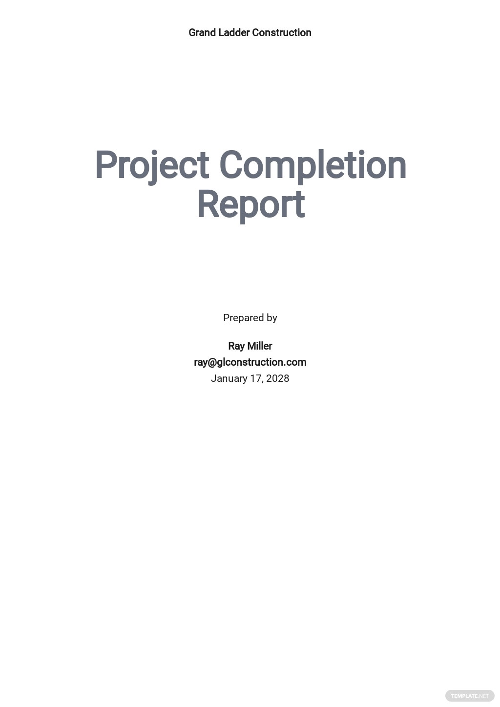 Project Completion Report Template