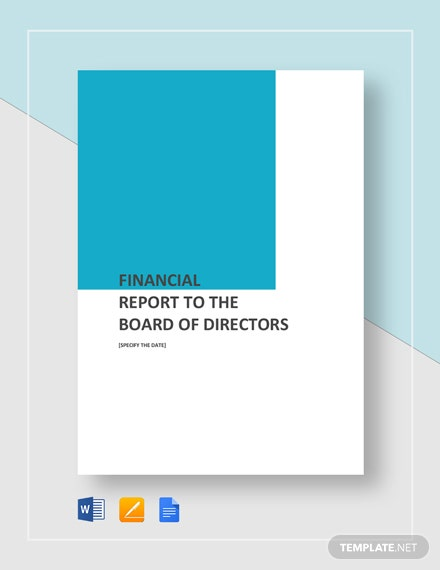 Financial Report To Board of Directors Template