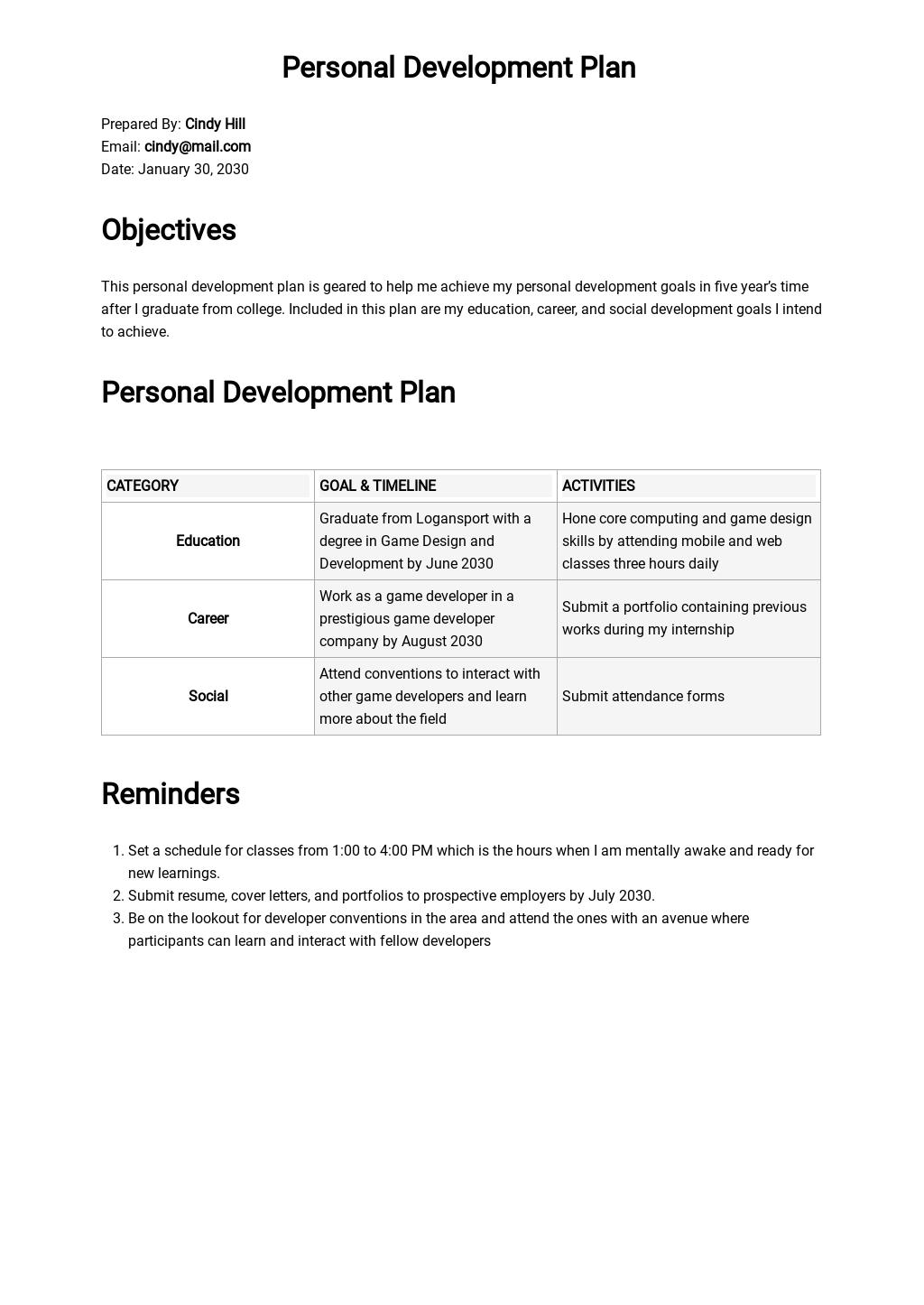 Personal Development Plan Template